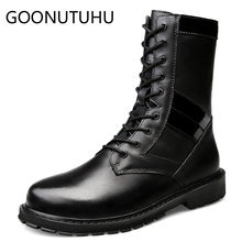 цены 2019 autumn winter men'boots casual genuine leather male work shoes combat boot man army boots for men black shoe big size 37-49