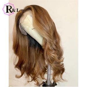 Image 5 - RULINDA 1B/27 человеческие волосы на шнуровке с эффектом омбре, диаметром 13*4, бразильские волнистые волосы без Реми, парики на шнуровке плотностью 130%