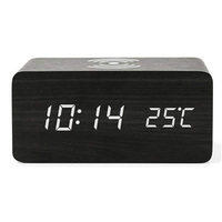Voice Control Digital Display Qi Wireless Charger Multifunction Led USB Alarm Home Modern Gift Rectangle Wooden Clock Dual Power