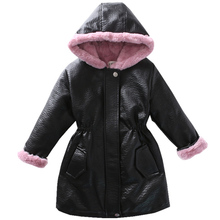 leather jackets with hooded 2019 autumn winter faux rabbit fur jackets children outerwear jackets for girls PU leather long цена и фото