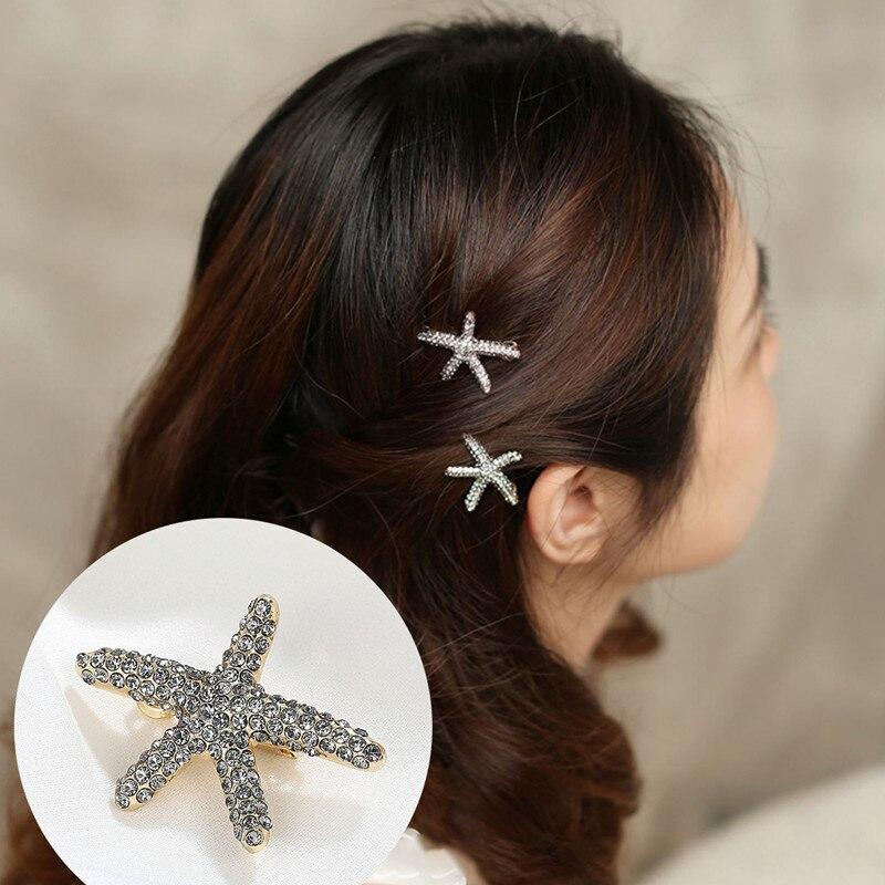 CHIMERA Starfish Hair Clips Bling Artificial Pearls Rhinestone Pins for Women Sea-star Barrettes Fashion Jewelry Accessory