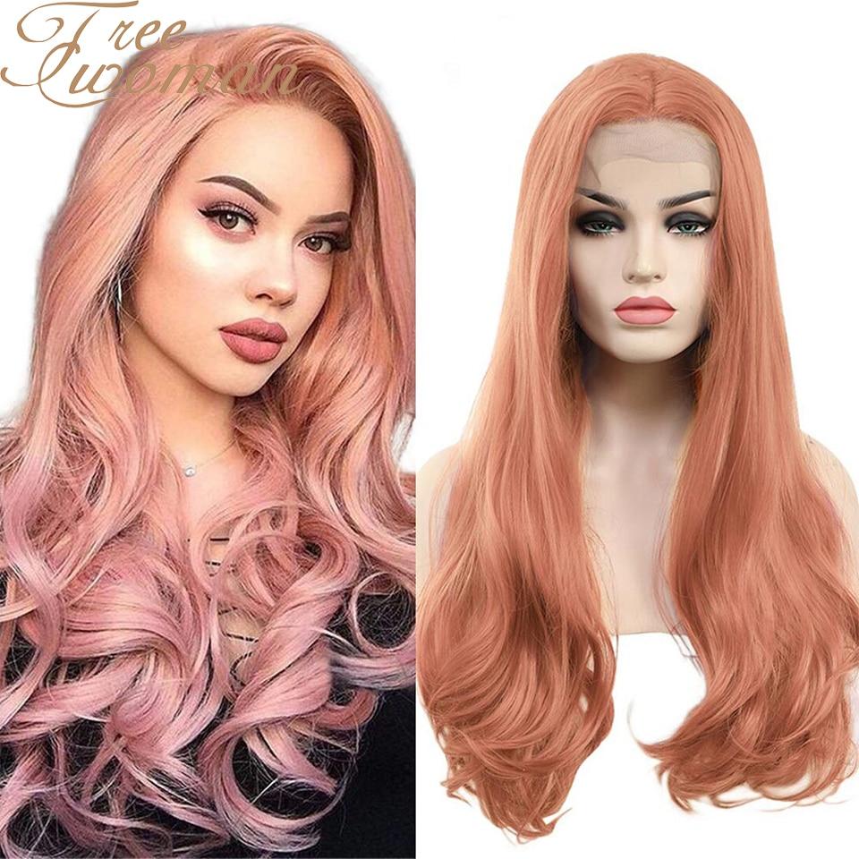 Женский парик для косплея FREEWOMAN, парик из синтетического кружева спереди для женщин, 24 дюйма, волнистые парики, накладные волосы для наращив...