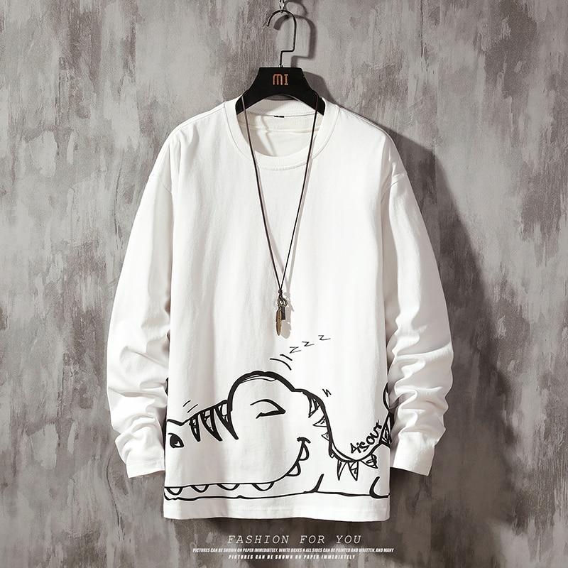 Print Sweatshirt Men Dinosaurs Sweatshirts Mens Cute Print Streetwear  Male Korean Funny Clothing Plus Size