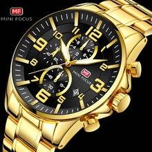 MINI FOCUS جديد وصول رجالي ساعات العلامة التجارية الفاخرة الكلاسيكية ساعة كوارتز الرجال مقاوم للماء كرونوغراف الفولاذ المقاوم للصدأ حزام على مدار الساعة