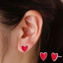 Heart Earring Jewelry Brincos Women Fashion Cute Simple Peach Metal Kinitial for Couple