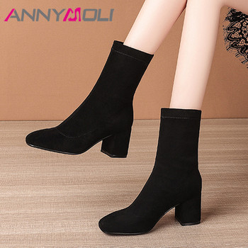 ANNYMOLI High Heel Ankle Boots Woman Boots Chunky Heel Short Boots Square Toe Ladies Slim Stretch Shoes Autumn Winter Black 40 black ankle boots for women chunky boots high heel autumn winter pointed toe booties woman fashion zipper black boots 2019