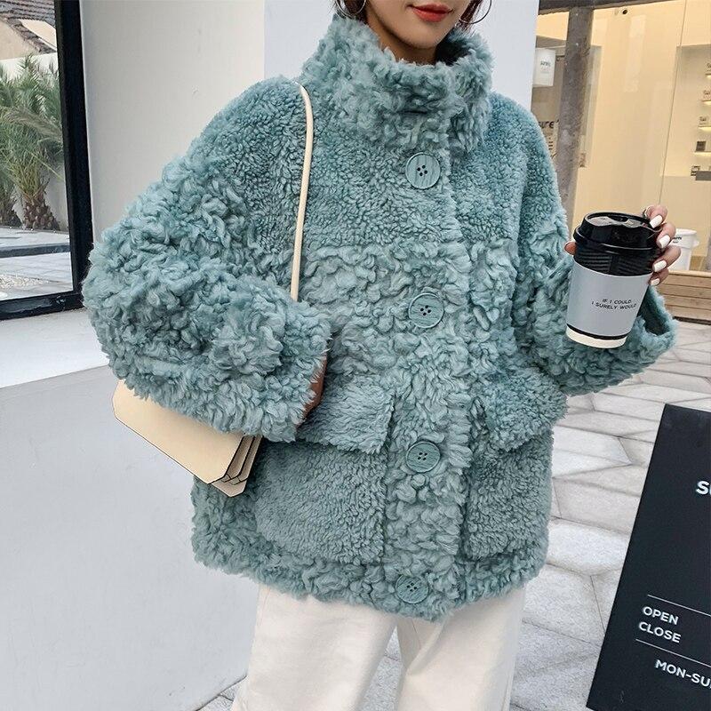 Ptslan 2020 натуральная шерсть мягкие зимние куртки с воротником стойкой и пуговицами пальто из натурального овечьего меха Зимние накладные карманы p5859|Шубы и дубленки| | АлиЭкспресс