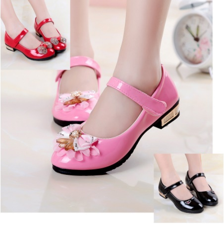 SLYXSH 2018 Spring And Autumn Girls Flat Shoes Leather Princess Shoes Children Single Red Child Patent Leather Shoes