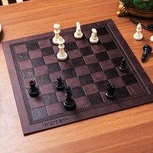 Шахматная доска уникальный дизайн с тисненым узором кожаная шахматная доска универсальная шахматная доска портативная шахматная доска