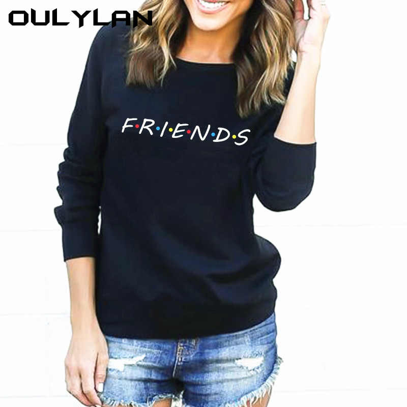 Oulylan Sweatshirt FRIENDS Letter Print Loose Long Sleeve Women Autumn Casual HarajukuTops Shirt Pullovers