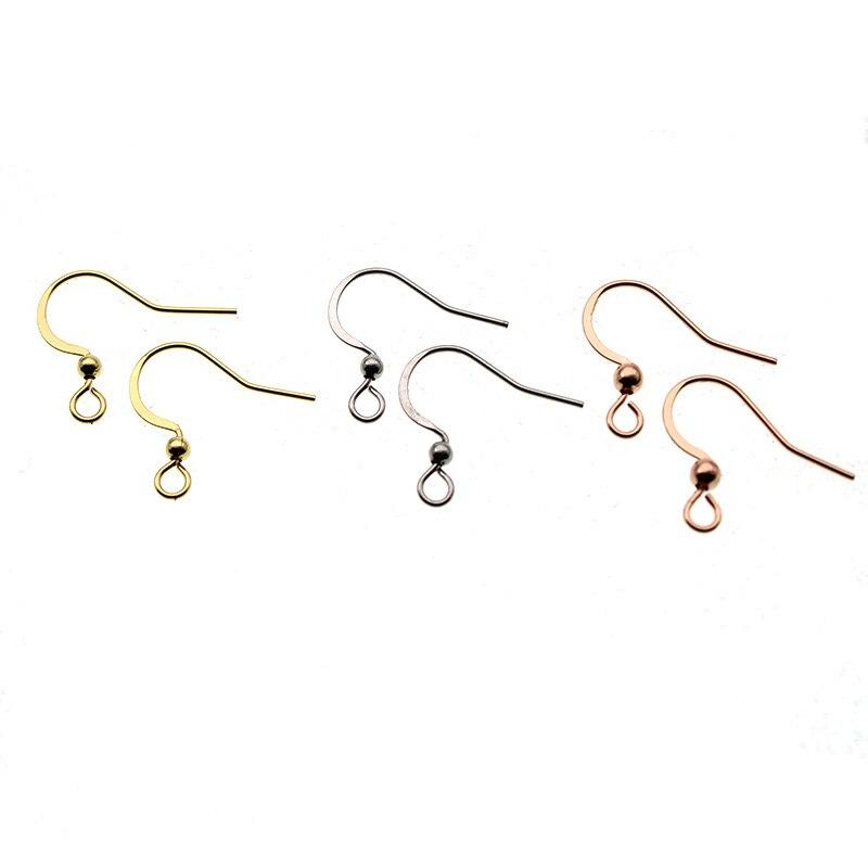 50 pçs rosa ouro aço inoxidável orelha fios hipoalergênico brinco ganchos para diy jóias descobertas componentes acessórios