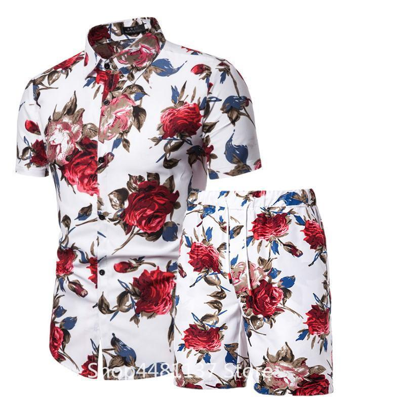 Men Sets 2020 Summer Fashion Floral Print Shirts Men+Shorts Set Men Short Sleeve Shirt Casual Men Clothing Casual Sets Tracksuit