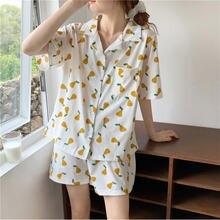 Caiyier новые летние женские хлопковые пижамы набор Корея милый