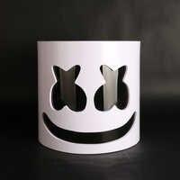 Flash Type!!!PVC Marshmallow Helmet DJ Marshmallow Mask Concert Props Future Bass Music Fans Prop Bars Prop Without LED
