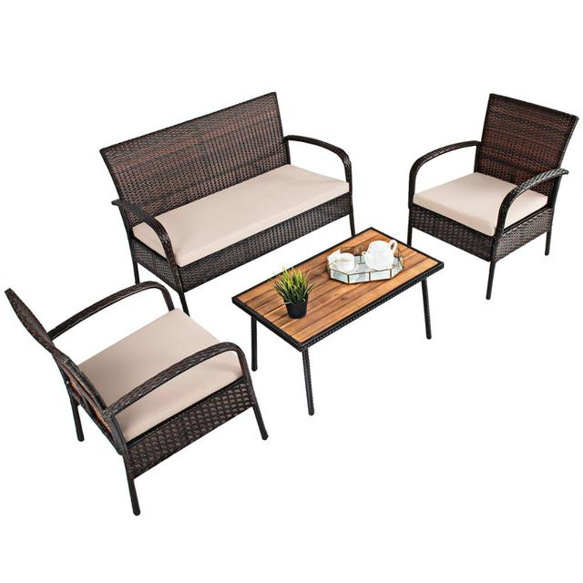 4PCS Patio Conversation Furniture Set  6