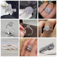 Hot Sale Brilliant Pave Cubic Zirconia Wedding Rings for Women Bridal Fashion Jewelry Couple Rings цена и фото