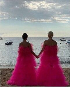 Image 2 - 세련된 2020 핫 핑크 매우 푹신한 투투 댄스 파티 드레스 높은 낮은 프릴 계층화 된 긴 파티 드레스 아프리카 파티 드레스