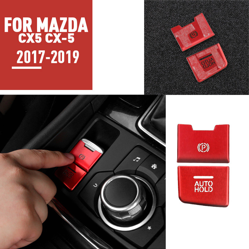 pcmos Interior Electronic Parking Hand Brake Knob Trim For <font><b>Mazda</b></font> <font><b>CX5</b></font> CX-5 2017-2019 Interior Mouldings Stickers Auto Accessories image