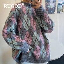 RUGOD Рождественский свитер для женщин, винтажный клетчатый узор, негабаритная туника, корейский шик, теплый вязаный пуловер, Модный повседневный женский