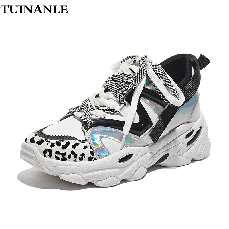 TUINANLE Women Sneakers Autumn Sexy Leopard Vulcanize Shoes Female Chunky Sneakers Lace Up Women Platform Shoes Tenis Feminino