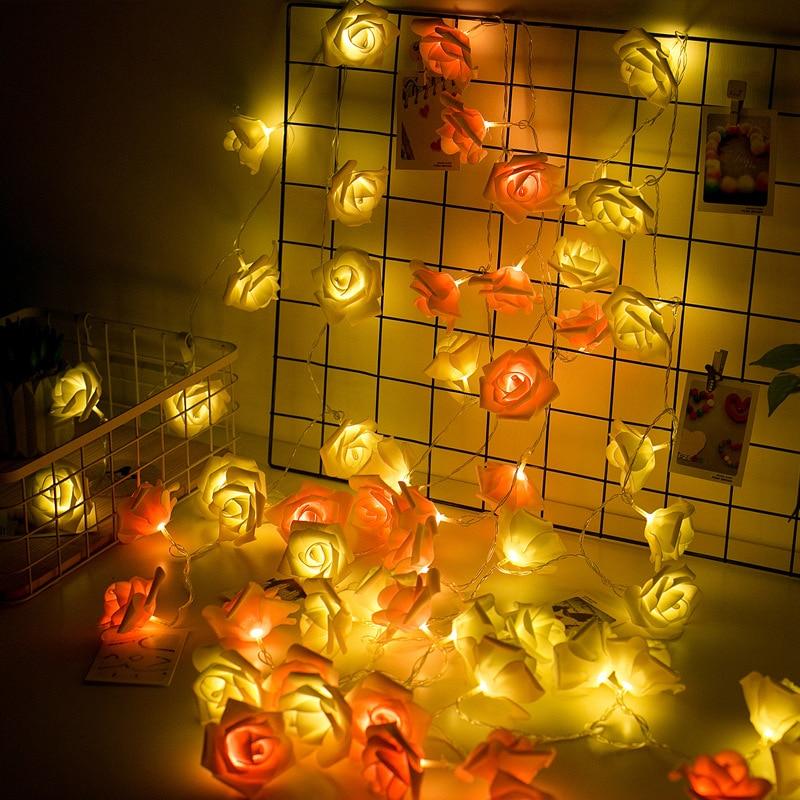 Battery Powered Pink Rose LED String Lights Luminaria Christmas Natal Garland Guirlande Lumineuse Wedding Birthday Decoration