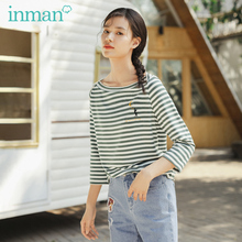 INMAN 2020 Spring New Arrival Artistic Shoulder Fun Cat Embroidered Stripes Loose Sleeve Women T shirt