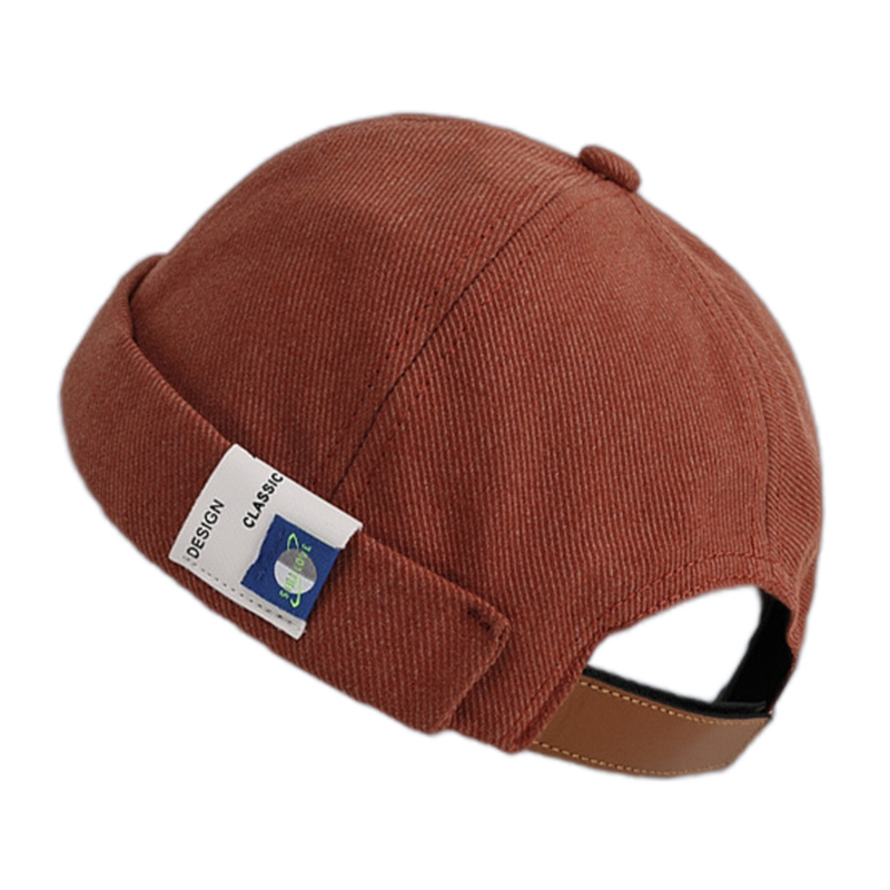 Retro Solid Color Beanie Docker Cap Rolled Cuff Brimless Label Hip Hop Skull Hat
