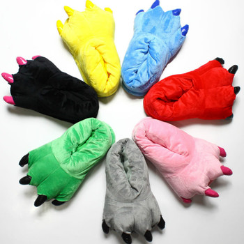 2020 Winter Warm miękkie pantofle podłogowe kobiety mężczyźni dzieci buty Paw Funny Animal Christmas Monster dinozaur Claw Plush Home tanie i dobre opinie HEONYIRRY Cotton Fabric CN (pochodzenie) RUBBER Mieszkanie (≤1cm) 0-3 cm Pasuje prawda na wymiar weź swój normalny rozmiar