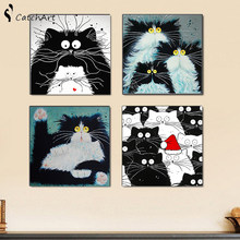 Picture Modern Framed Oil Cat Wall Art Canvas Painting On Canvas Kids Room Bedroom Decor Of White Cat posters 50x50cm(China)