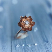 Simple Flower Finger Wedding Rings for Women Two-tone Zircon Stone Ring Glamour Jewelry Girl Gift