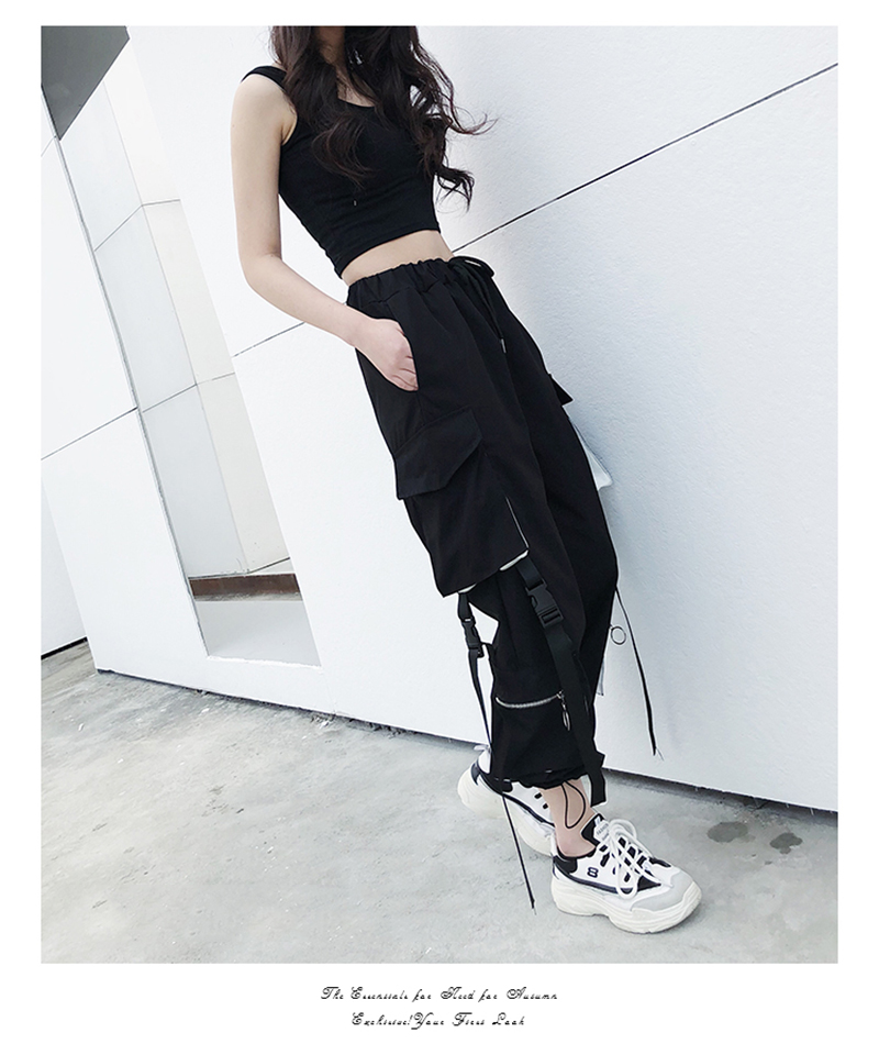 cintura alta solta streetwear calças baggy tático
