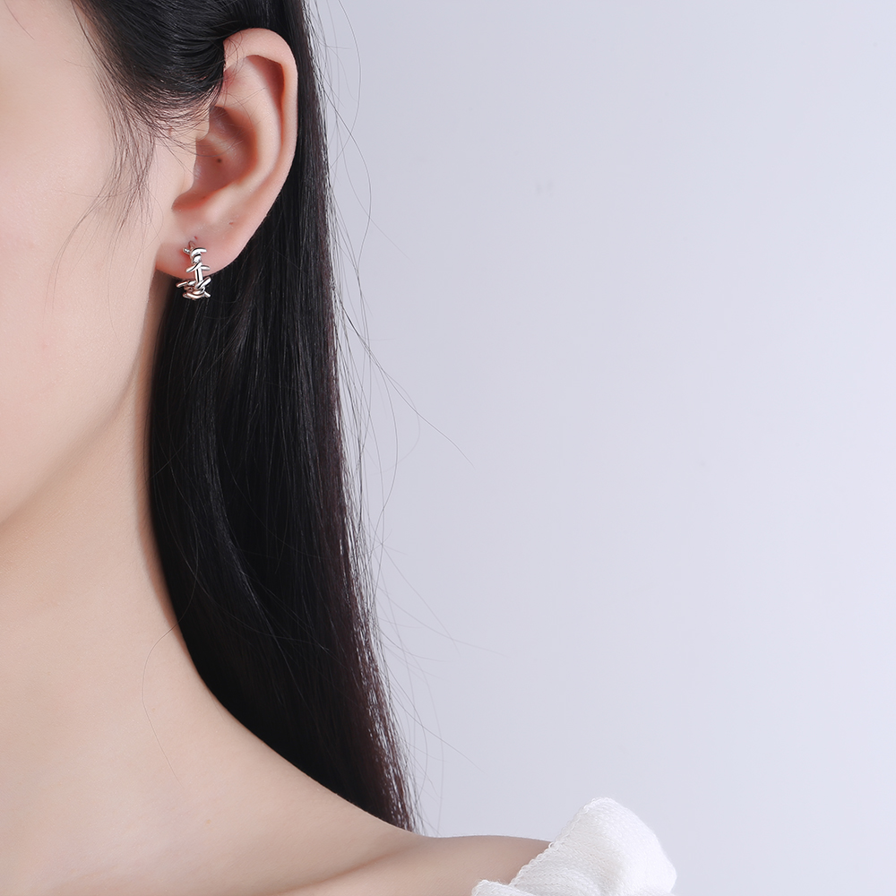 NEHZY 925 en argent Sterling nouvelle femme bijoux de mode de haute qualité noir Thai argent rond boucles d'oreilles Simple rétro boucles d'oreilles 3