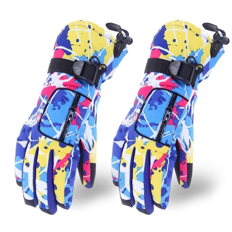 Мода для взрослых; Зимние теплые Водонепроницаемый снег лыжные перчатки цветной принт «граффити» Термальность на плюшевой подкладке нескользящие перчатки для сноуборда