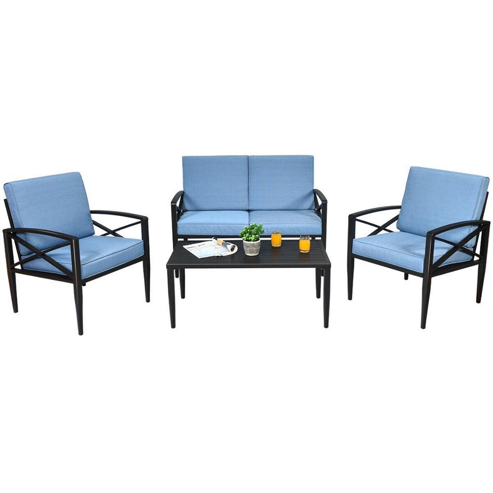 20PCS Terrasse Möbel Set Aluminium Rahmen Gepolsterten Sofa Stuhl Kaffee  Tisch Blau HW20 +