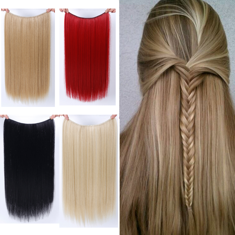 Allaosify 22 Inches Clip On Wire Fish Line Hair Extensions Secret Invisible Wire One Piece For Ombre Hair Synthetic Hairpiece