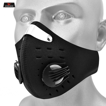 WOSAWE PM2.5 Motorcycle Dust Mask Respirator Carbon Mask Replaceable Filters Anti-Pollution Cycling Sport Face Mask Reusable