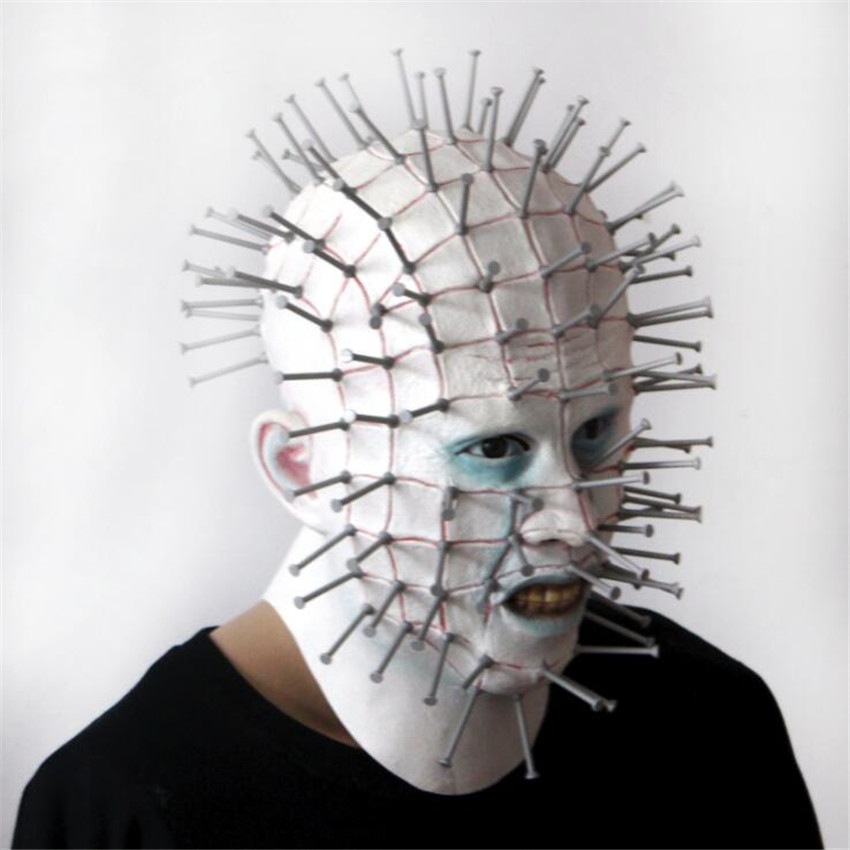 Image 2 - Movie The Hellraiser Mask Horror Cosplay Costume Props Halloween Mask Full Face Adult Nail Maskmask horrormask fullmask full face -