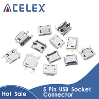60 개/몫 5 핀 SMT 소켓 커넥터 마이크로 USB 유형 B 여성 배치 12 모델 SMD DIP 소켓 커넥터