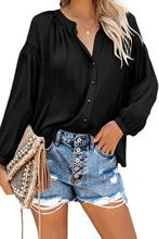 Adogirl Black Inspired Button Down Peasant Top Women Leisure Office Shirt Blouse Plus Size Long Sleeve Women T Shirt 2XL