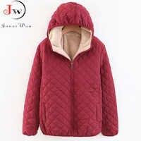 Outono inverno parkas casacos casaco feminino cordeiro com capuz xadrez manga longa quente jaqueta de inverno plus size s ~ 3xl casaco feminino