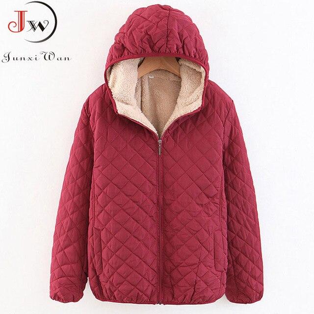 Femmes automne hiver Parkas manteau vestes femme agneau à capuche Plaid à manches longues chaud hiver veste grande taille S ~ 3XL casaco feminino
