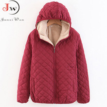 Women Autumn Winter Parkas Coat Jackets Female Lamb Hooded Plaid Long Sleeve War