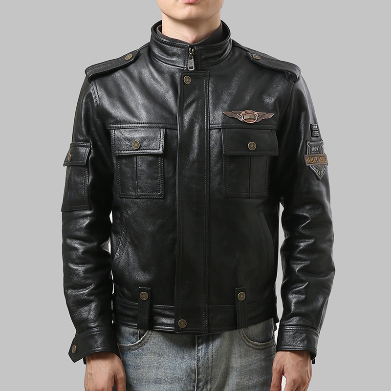 98110 Men's High Quality Cow Leather Outwear Mens Cowhide Genuine Leather Vintage Rider Jacket