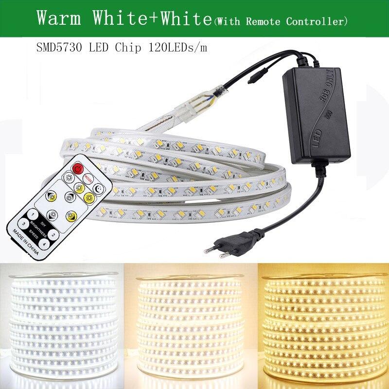 SMD 5050 Светодиодная лента 220 В гибкая лента со светодиодными лампочками уличная Водонепроницаемая IP65 Светодиодная лента с регулируемой яркостью 70 м 80 м 90 м 100 м - 3