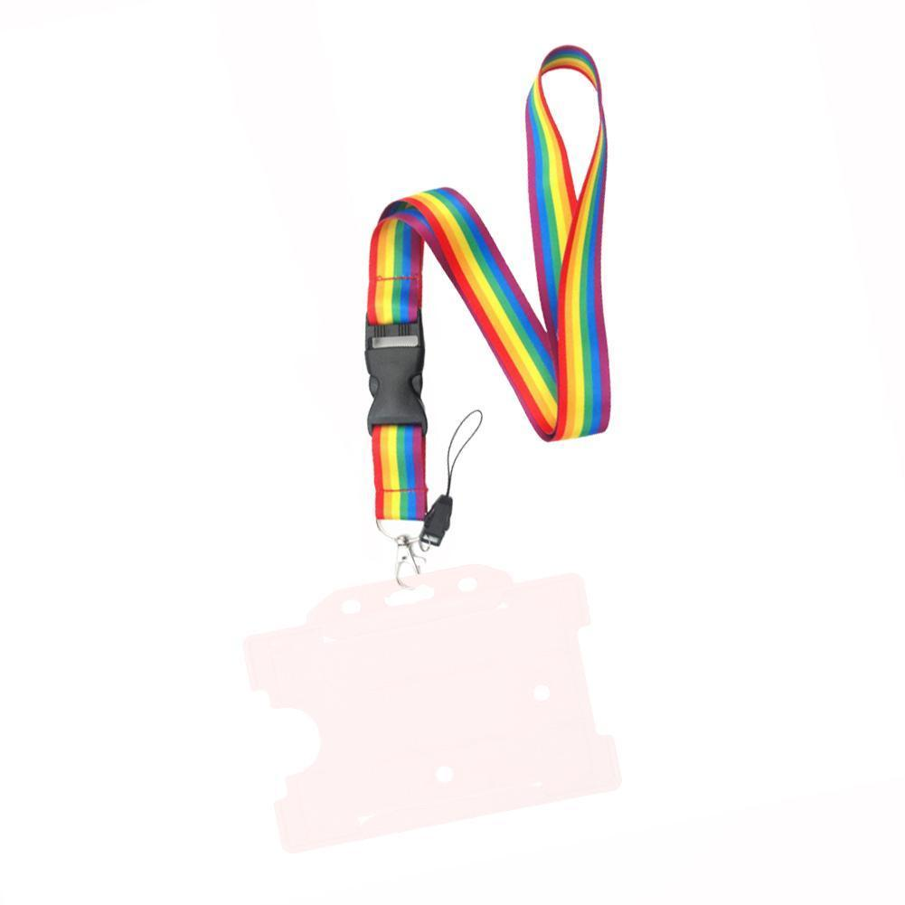 Colorful Rainbow Phone Lanyard Printed Webbing Phone Neck Card * For ID Straps 2.5 100cm Keys N4T7(China)