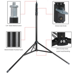 Image 2 - 2.6m Heavy Duty Steel Metal Photo Video Light Stand w/ Buffer Spring Tripod for Studio Softbox Video Reflector, Max Load 15KG