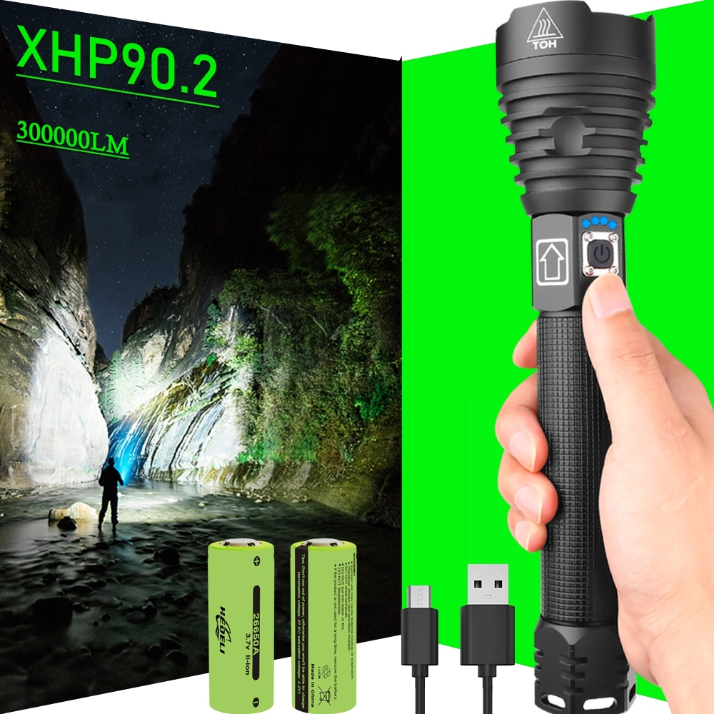 300000 Glare XHP90 2 Most Powerful LED Flashlight 18650 OR 26650 USB LED Torch XHP50 XHP70 Lantern 18650 Hunting Lamp Hand Light
