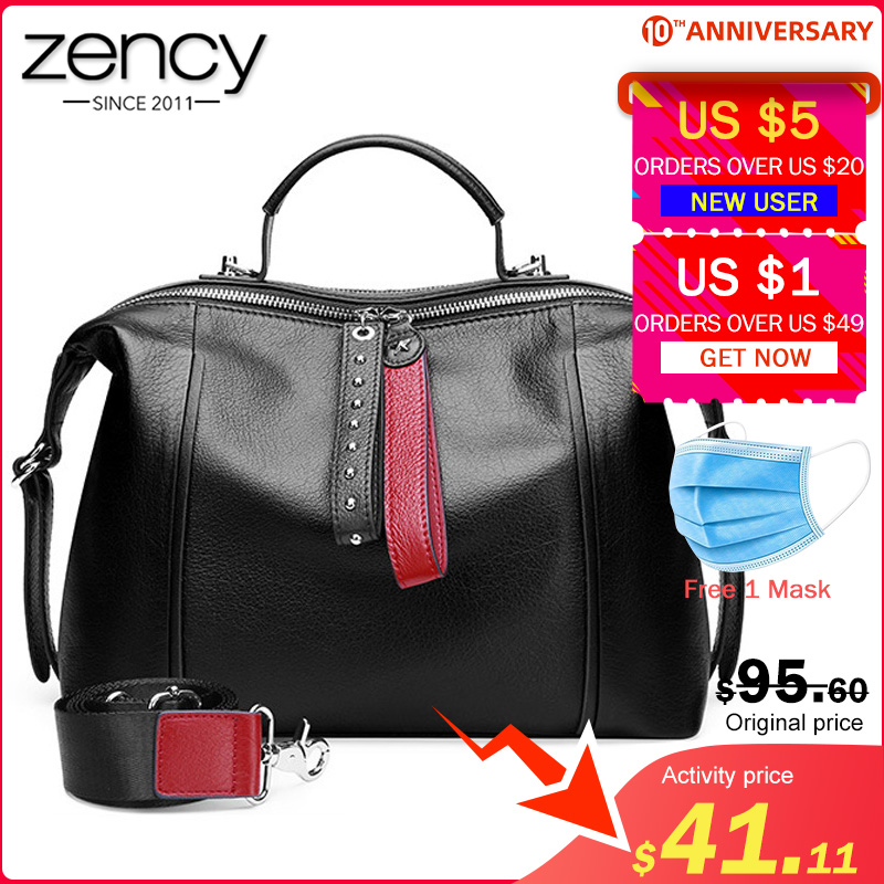 Zency 100% Genuine Leather Classic Black Women Handbag Fashion British Boston Bag Casual Tote Lady Shoulder Messenger Bag Rivets