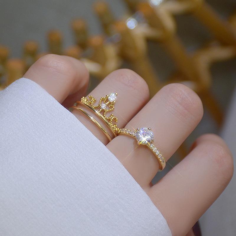 14k Or Diamant Exquis Femme Bague Fiançailles Set Anneau Bijoux Cadeau Mariage