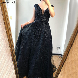 Image 5 - Pink V Neck Evening Dresses Long 2020 Lace Beading Crystal Sleeveless A Line Evening Gowns Serene Hill LA70225